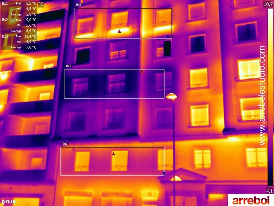 Medición de temperaturas de fachada con termografía. ARREBOL